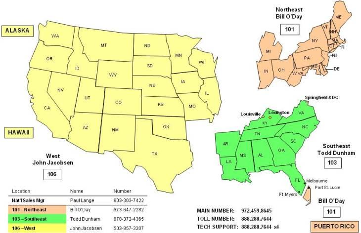 Manufacturers Representatives Regions Contact Us Advanced - Us sales territory map