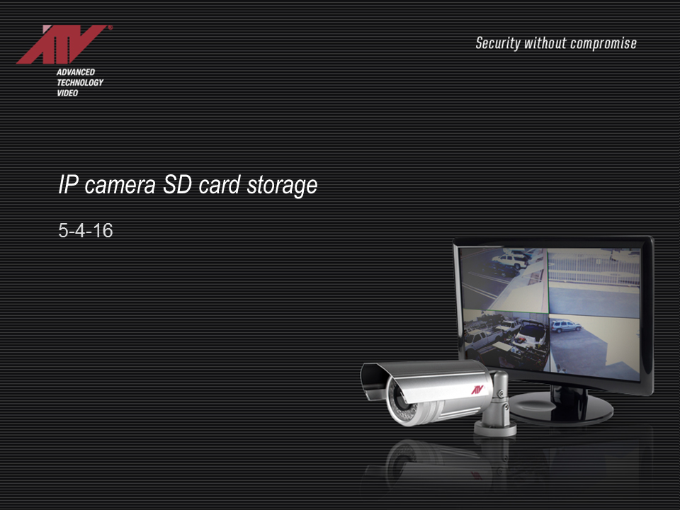 IP Camera Onboard SD Card Storage